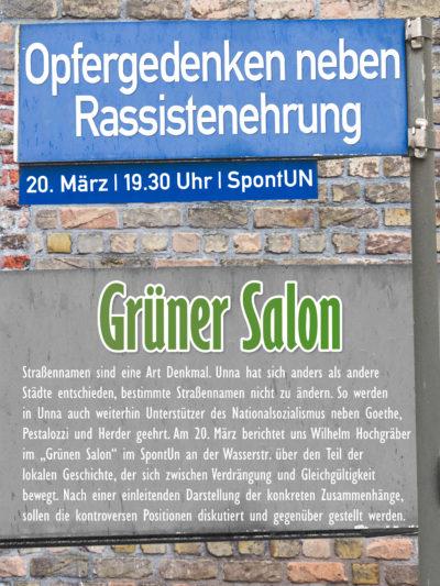 Grüner Salon: Opfergedenken neben Rassistenehrung @ spontUN | Unna | Nordrhein-Westfalen | Deutschland
