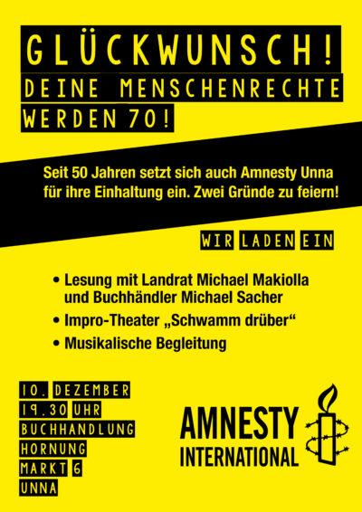 Amnesty International Unna feiert 50 jähriges bestehen @ Buchhandlung Hornung | Unna | Nordrhein-Westfalen | Deutschland